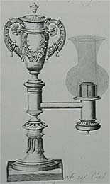 Colza lamp. (Plate from a manufacturers catalogue, Possibly Smethurst, New Bond St. English, circa 1825)