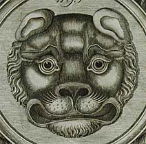 Leopard mask.                                                                     (Plate from a brass manufacturers catalogue)